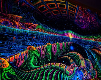 Blacklight active Backdrop planet Landscape Wall hanging tryppy Psytrance psychedelic UV tapestry, Fluorescent Space shamanic digital art