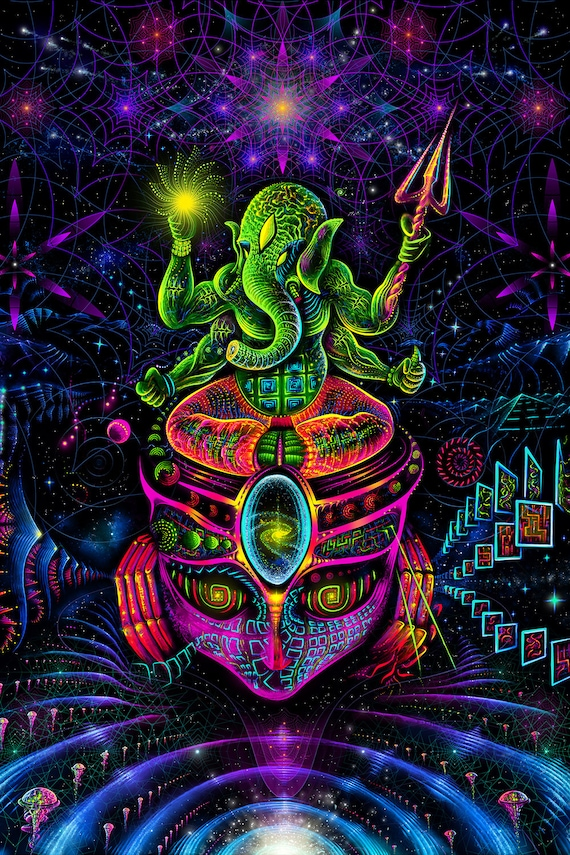 Psy Backdrop Ganesha Uv Fluorescent Blacklight Psychedelic