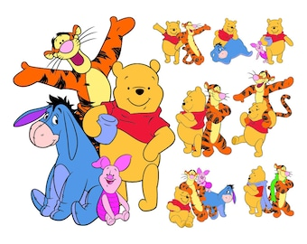 Pooh & Friends SVG Files, Pooh and Friends Cutting Files, Pooh and Friends Face DXF Cut Files, Pooh Tigger Face SVG Files, Instant Download