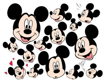 Mickey Mouse Face SVG Files, Mickey Mouse Face Set Cutting Files, Mickey Mouse DXF Cut Files, Mickey Mouse SVG Files, Instant Download