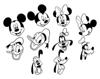 Mickey Minnie Mouse SVG Cut Files, Mickey Minnie Donald Duck DXF Cutting Files, Mickey Minnie SVG Dxf Png Cuttable Files, Instant Download