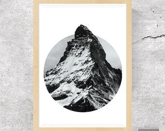 Mountain Print, Mountain Art, Mountain Poster, Landscape Print, Scandinavian Art, Geometric Art, Nature Wall Art, Nordic, Printable Download