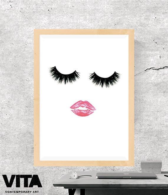 Druk Makijażu Druk Rzęs Druk Warg Druk Mody Druk Glamour Druk Kosmetyczny Minimalistyczny Mur Plakat Mody Instant Download