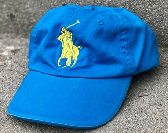 650dc27ed8c Vintage Polo Logo Ralph Lauren Hat - Blue Dad Hat with Large Embroidered  Polo Logo - Strapback Closure - Ralph Lauren Fragrances