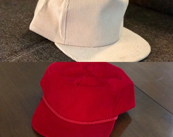 fdc3fc8e3ad4b2 80s Deadstock Corduroy Blank Red or Beige Hats, Brand New Old Stock, Never  Worn, Strapback or Snapback, Five Panel, Rope Hat, Rope Brim Hat