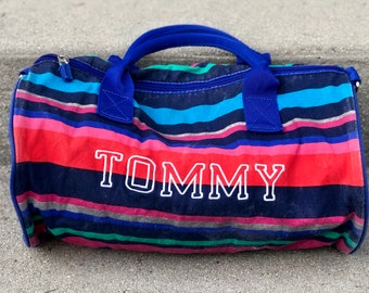 8f33f436e2e 90s Tommy Hilfiger Spellout Duffle Bag, Overnight Bag, Weekend Bag with  Handles - Multicolored Stripes - Zippered Pocket - 90s Tommy Bag