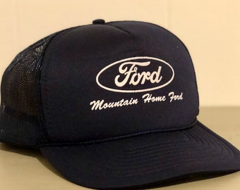 89c18576eaa49 1980s Ford Trucker Hat - Five Panel Snapback Hat with Braided Cord - Navy  Blue with White Print - Mountain Home Ford - Mountain Home