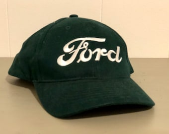 b63d60f0 1990s Ford Snapback Six Panel Vintage Dad Hat - Green Hat with White  Embroidery of the Ford Logo - True Vintage Snapback Dad Hat