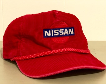 ff6536454a0b2 Vintage Nissan Corduroy Hat - Red Corduroy Hat with Embroidered Nissan Logo  - Sliding Closure
