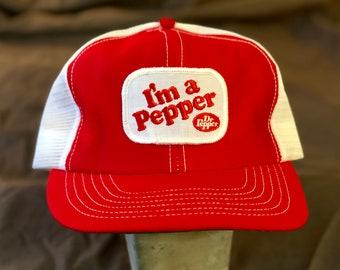 7077e76606c25 80s I m a Pepper Snapback Hat - True Vintage 1980s Dr. Pepper I m a Pepper  Mesh Trucker Hat - Snapback Closure - Excellent Condition