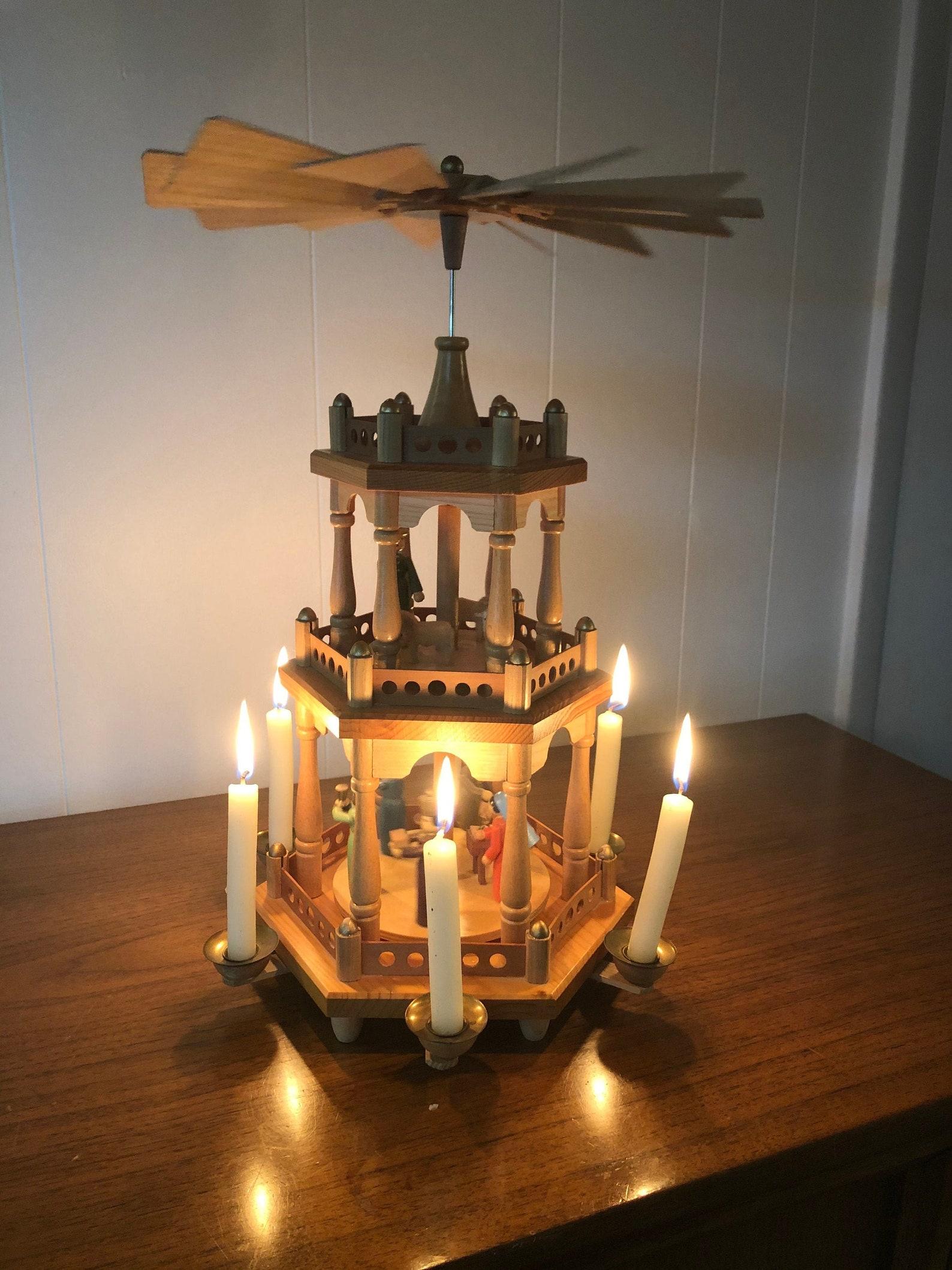 Vintage German Christmas Carousel, 3 Tier Christmas Pyramid Made in Germany,
