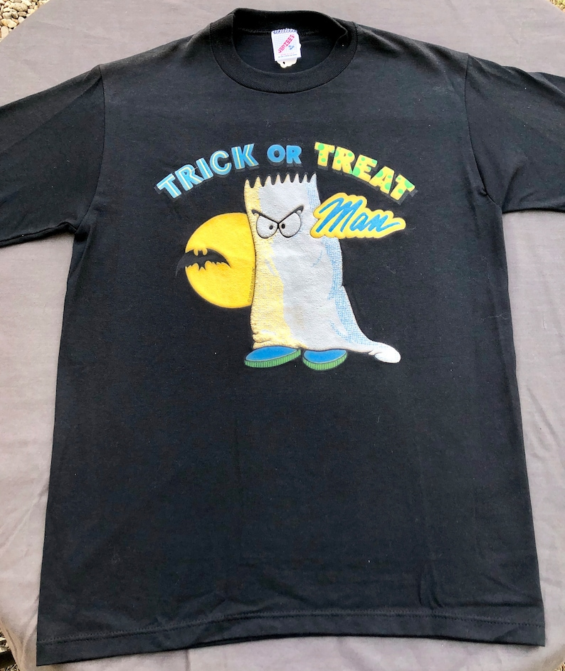 Simpsons Halloween Shirt.1990 Bootleg Bart Simpson Halloween Deadstock Shirt Trick Or Treat Man The Simpsons Treehouse Of Horror Paper Thin Single Stitch