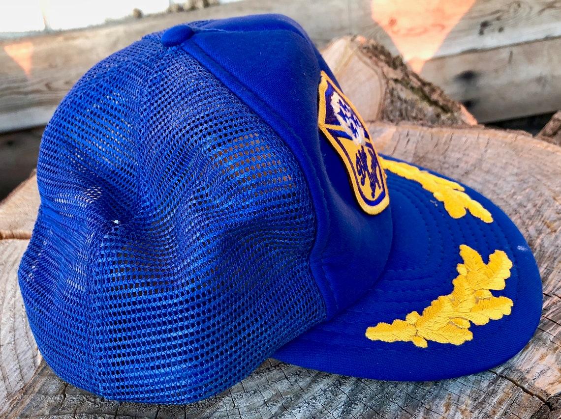 725553ea1c4 Vintage Trucker Hat Cap Blue Angels Snapback Adjustable