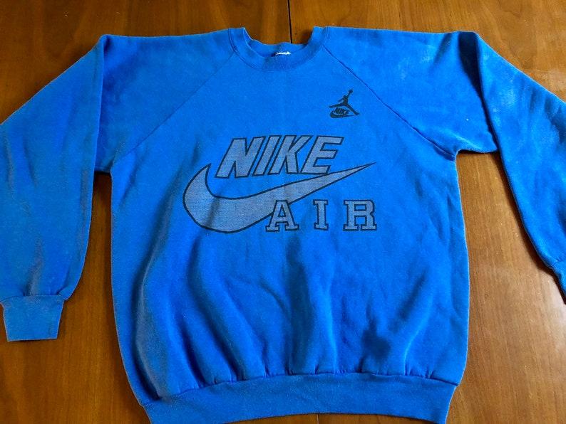 2960a41bd8293 80s Nike Air Jordan Swoosh Vintage Pullover Crewneck Raglan Sweatshirt,  Jumpman, Air Jordan, Michael Jordan, Basketball, Large, Original