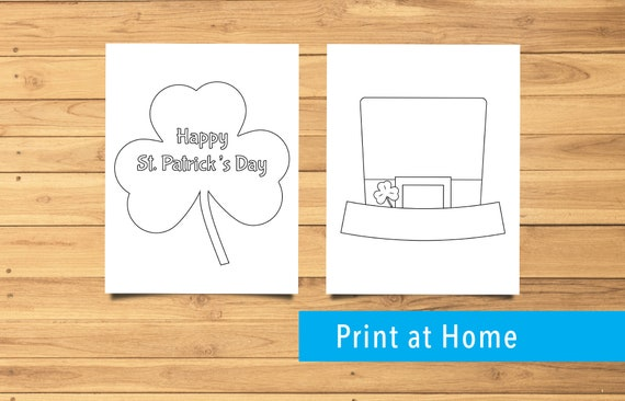 2 St. Patrick's Day Themed Coloring Pages Clover
