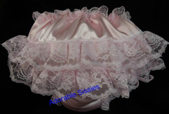 LACEY FULL SIZE BABY SISSY BLACK SATINY WADDLE DIAPER PANTY HAVE FUN WADDLING
