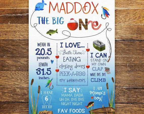 The Big One Fishing Birthday Poster, Gone Fishing First Birthday Milestone Sign, Fishing Party Sign for Boy, Reel in the Big One, PRINTABLE