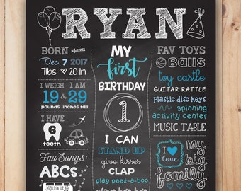 little man first birthday chalkboard poster printable etsy