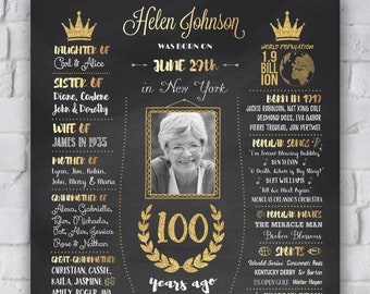 100th Birthday Gift 1919 Poster Chalkboard Sign Back In Party Decor