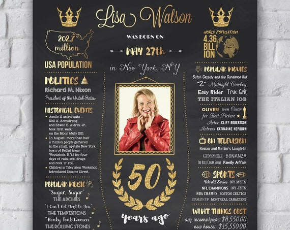 1969 birthday poster for a woman or man, 50th birthday gift, back in 1969, what happened in 1969 chalkboard sign 1969 birthday party DIGITAL