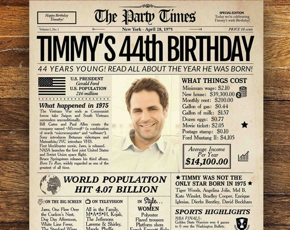 44th Birthday Newspaper Poster, 44th birthday gift for her of him, 44 years ago back in 1975, 44th birthday sign, 44th birthday party decor