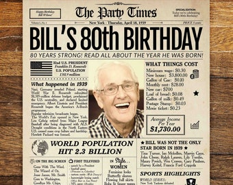 80th Birthday Newspaper Poster Sign Personalized 80 Years Ago Back In 1939 Gift For A Man Or Woman
