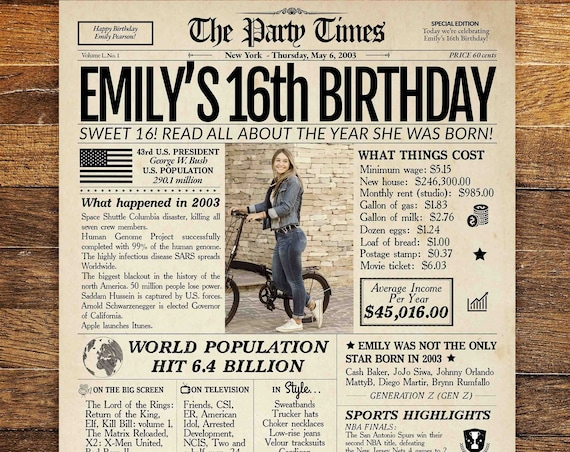 16th Birthday Newspaper Poster Sign, Sweet 16 Birthday Poster PRINTABLE, 16 Years Ago Back in 2003, 16th Birthday Gift, Sweet 16 decoration