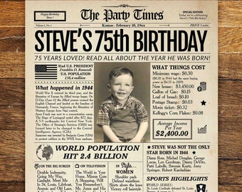 75th Birthday Newspaper Poster Sign Personalized 75 Years Ago Back In 1944 Gift For A Man Or Woman