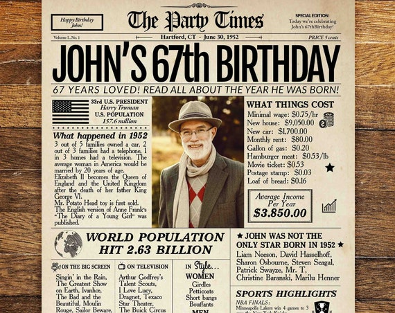 67th Birthday Newspaper Poster, 67th birthday gift for him or her, 67th birthday decorations, 67 years ago back in 1952, 67th birthday sign