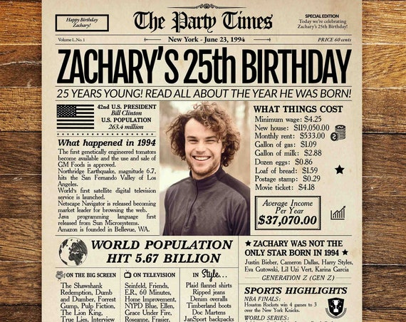 25th Birthday Newspaper Poster Sign, Back in 1994, 25th Birthday gift for him or her, 25th birthday poster, 25th Birthday Sign PRINTABLE