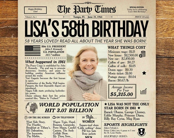 58th Birthday Newspaper Poster Sign, Personalized 58th Birthday Poster, 58 Years Ago Back in 1961, 58th Birthday Gift for man or women