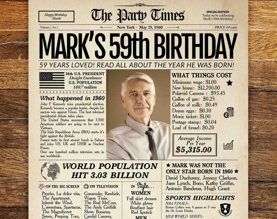 59th Birthday Newspaper Poster Sign, Personalized 59th Birthday Poster, 59 Years Ago Back in 1960, 59th Birthday Gift for man or women