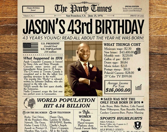43rd Birthday Newspaper Poster Sign, Back in 1976, 43rd Birthday Gift for man or women, Personalized 1976 Birthday Sign PRINTABLE