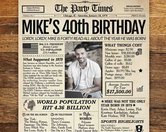 40th Birthday Newspaper Poster Sign Personalized 40 Years Ago Back In 1979 Gift For Man Or Women