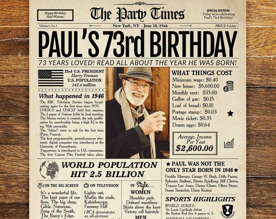 73rd Birthday Newspaper Poster Sign, 1946 Birthday Poster PRINTABLE, 73 Years Ago Back in 1946, 73rd Birthday Gift for a man or woman