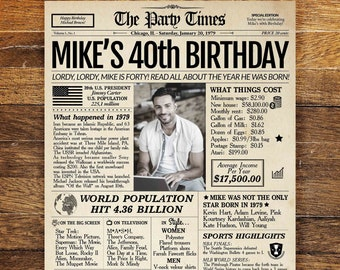 40th Birthday Newspaper Poster Sign Personalized 40 Years Ago Back In 1979 Gift For Man Or Woman