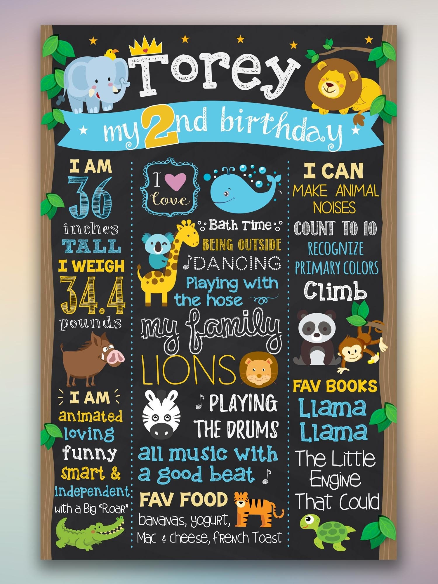 Jungle 2nd Birthday Chalkboard Sign Theme Second Poster Safari Zoo