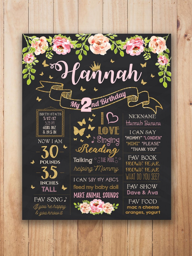 Butterfly Decoration Floral First Birthday Chalkboard Poster 2nd Birthday Sign Garden Party Sign Butterfly Party Sign Milestone Poster