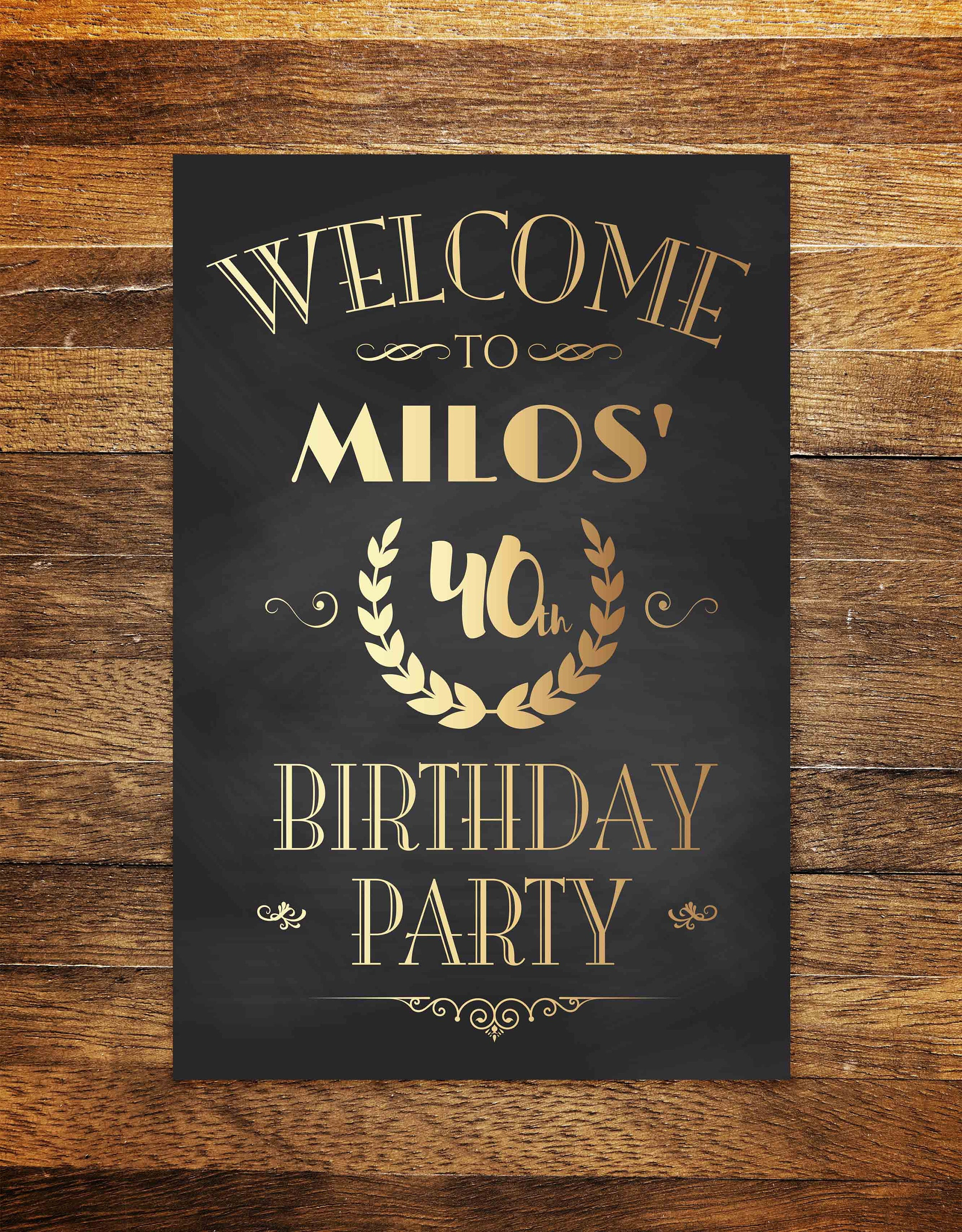welcome to birthday party sign any age birthday decoration etsy