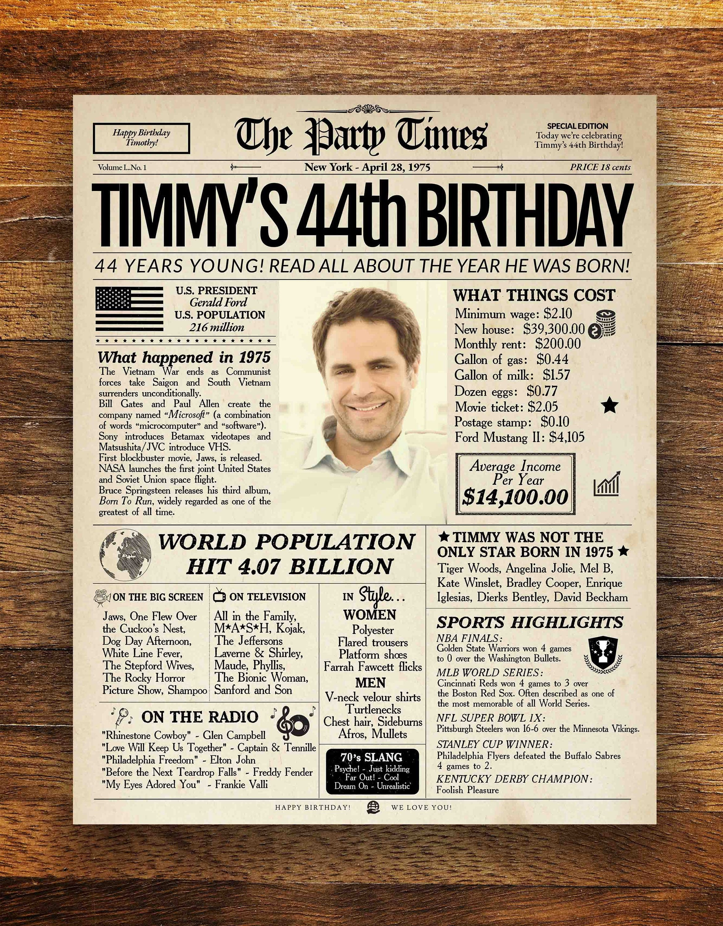 44th Birthday Newspaper Poster Gift For Her Of Him 44 Years Ago Back In 1975 Sign Party Decor