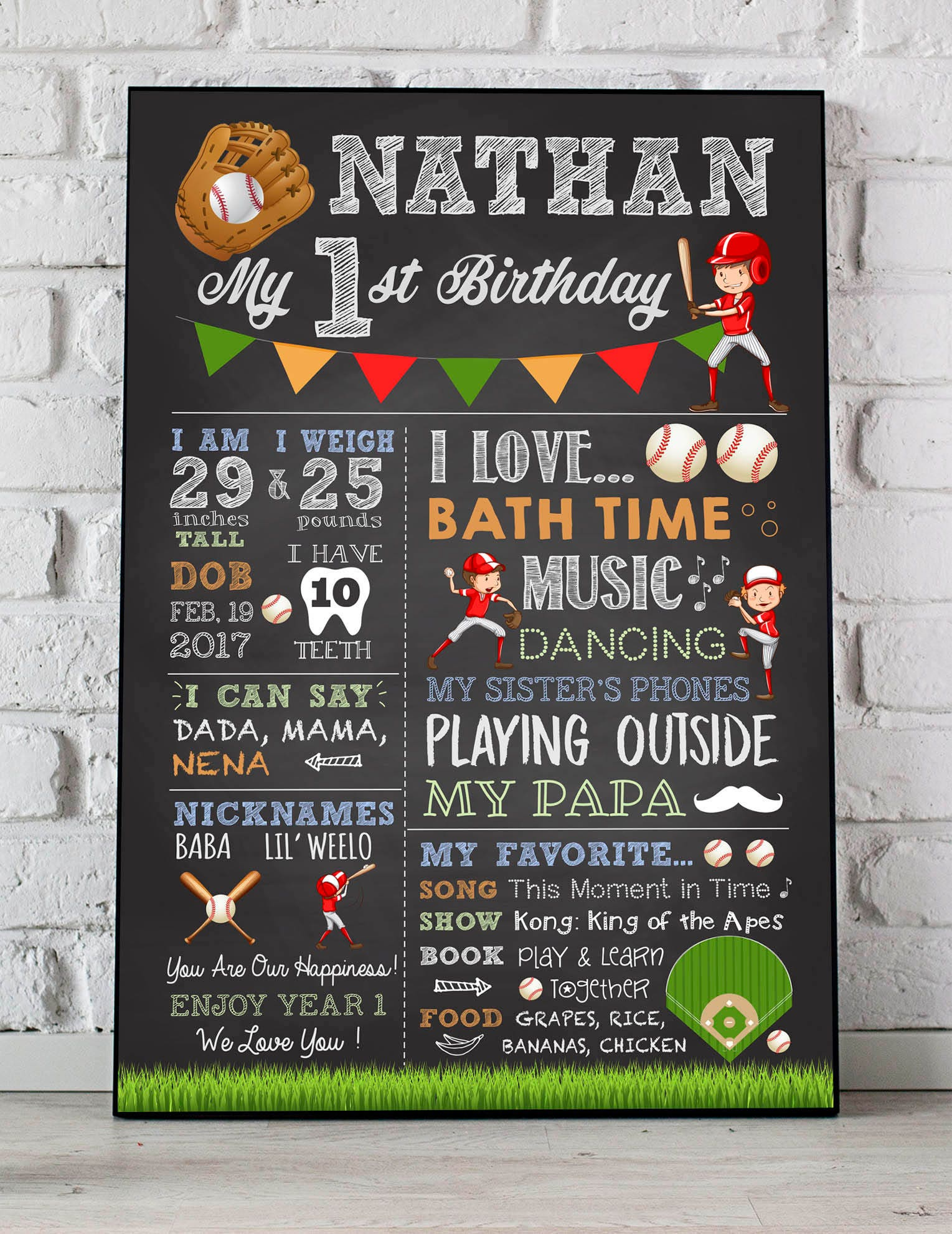 baseball chalkboard sign baseball theme birthday poster baseball