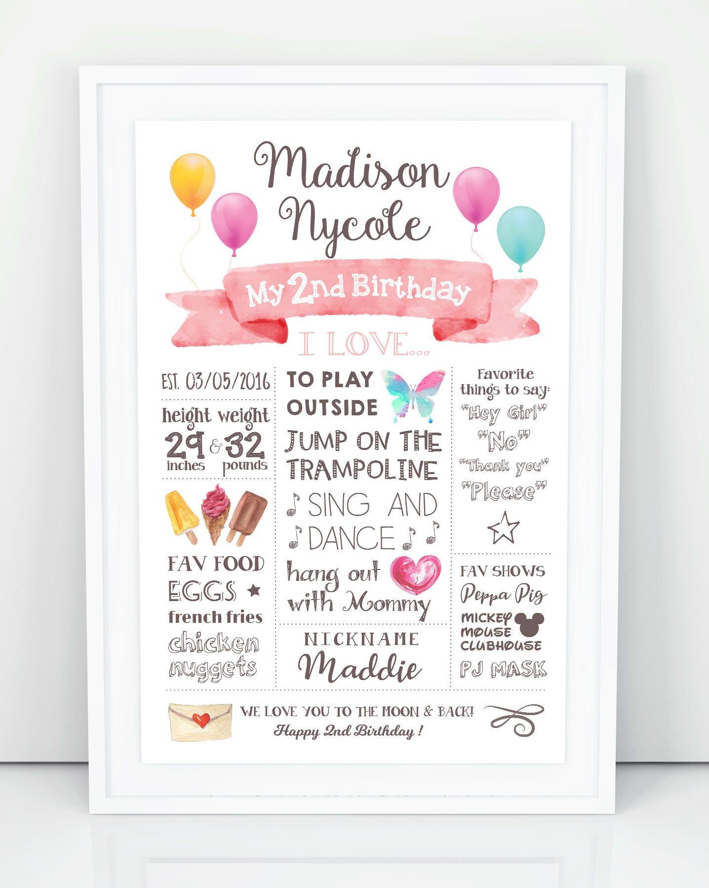 2nd Birthday Poster, Second Birthday Sign, Birthday Stats ...