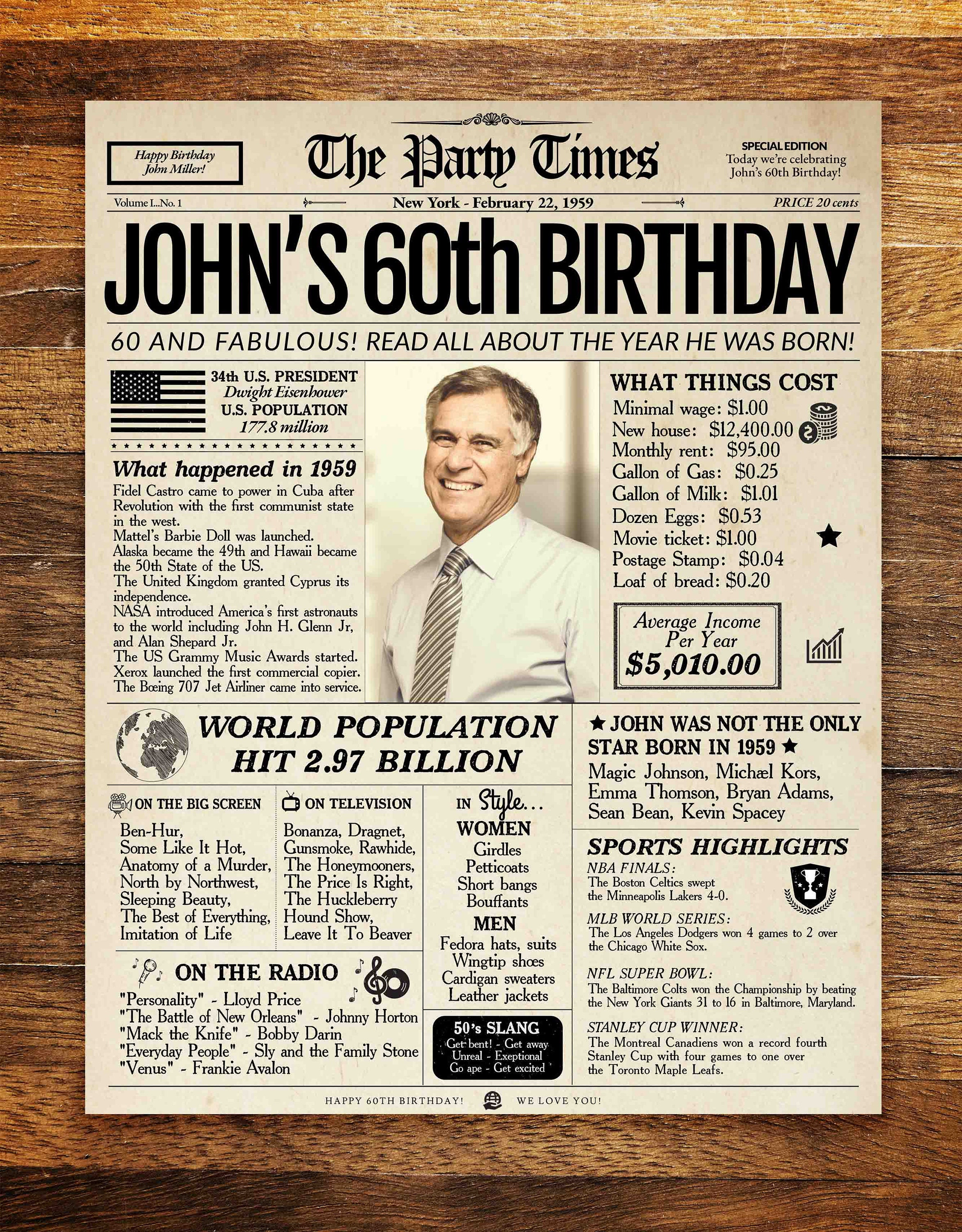 60th Birthday Newspaper Poster Gift For Him Or Her Decorations 60 Years Ago Back In 1959 Sign