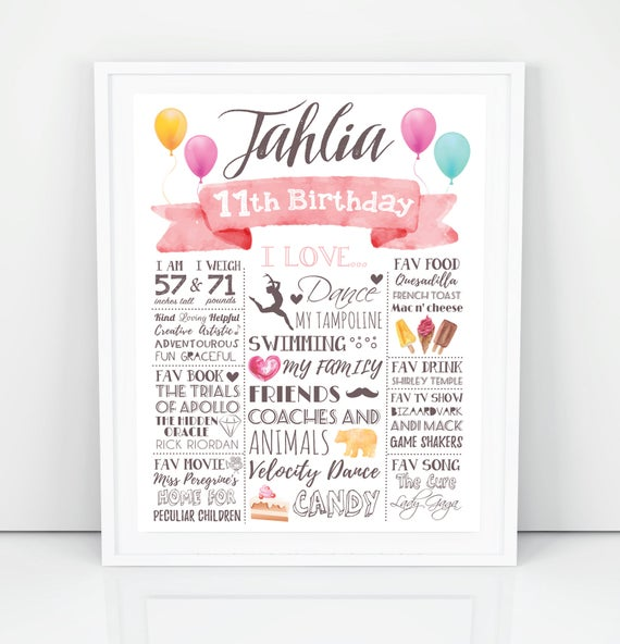 11th Birthday Poster For A Girl Gift Teenage