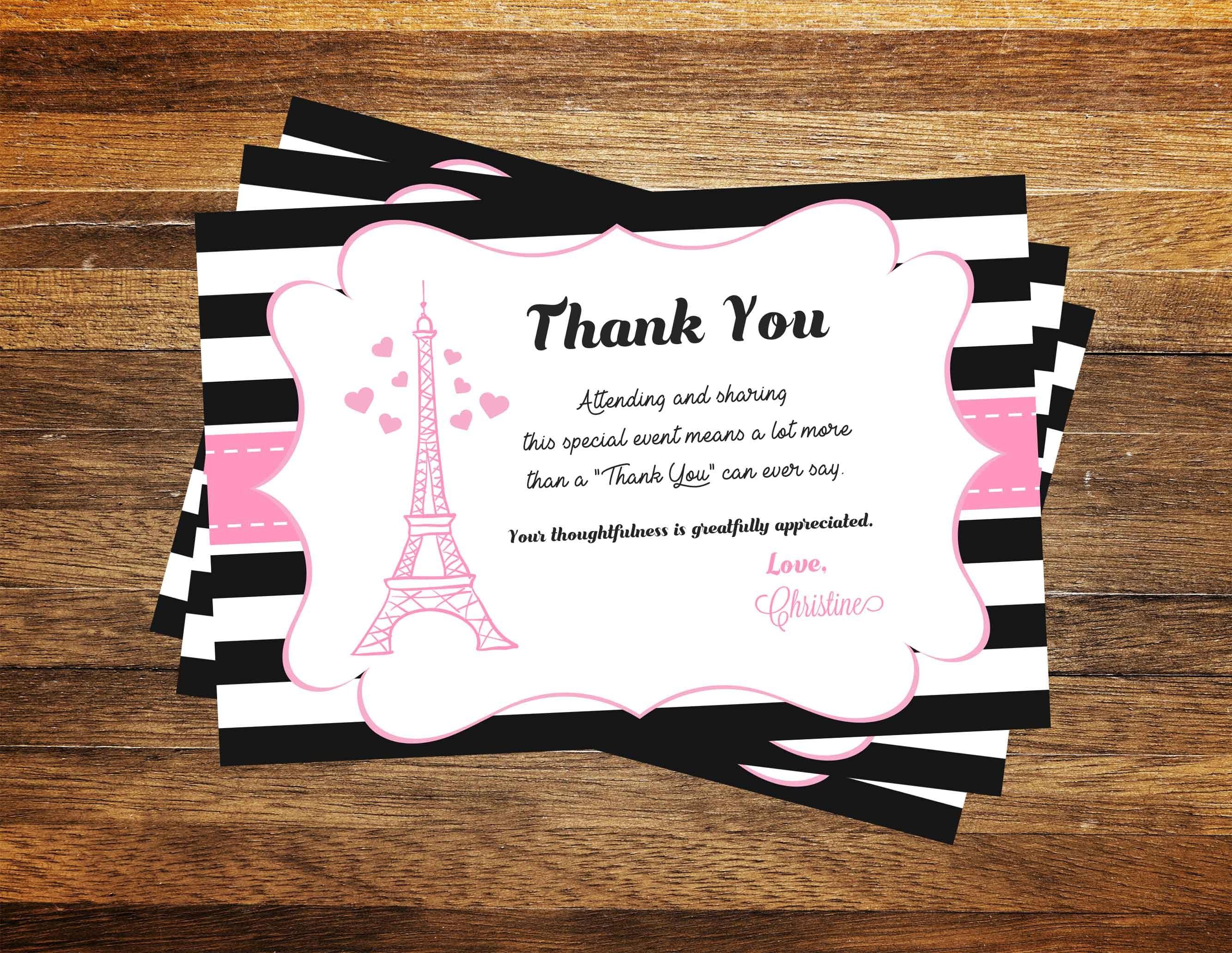 Paris Thank you card, Eiffel Tower Thank you cards PRINTABLE, Paris ...
