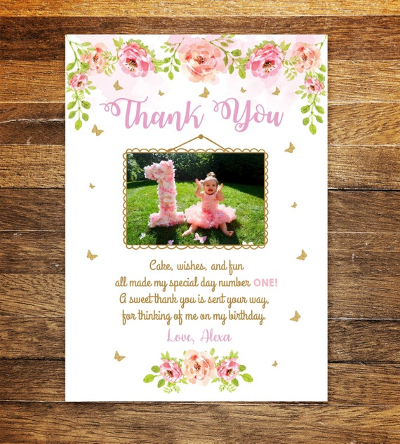 Thank You Card With Photo First Birthday Thank You Cards Etsy