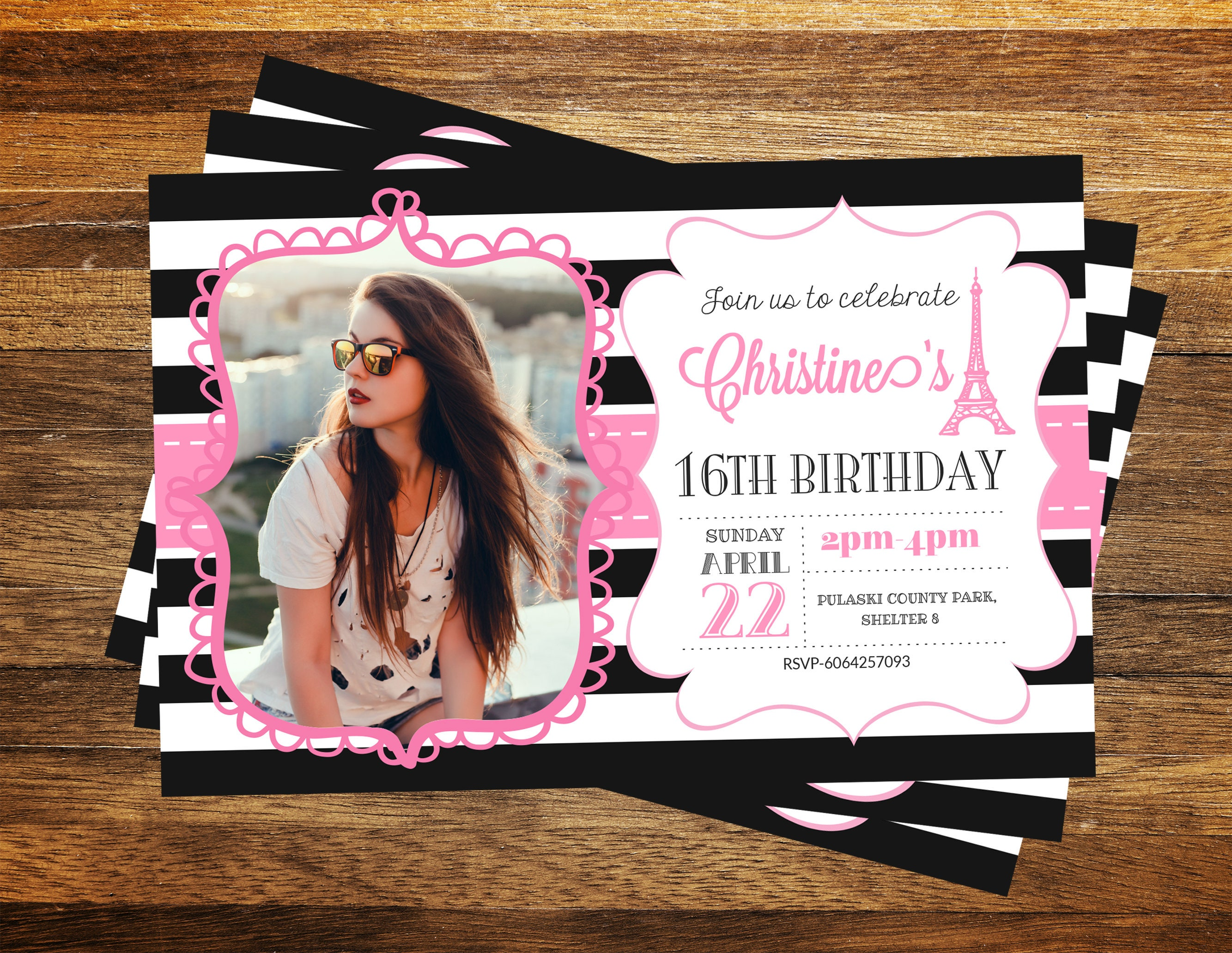 Paris Invitation PICTURE Birthday Themed Invite Eiffel Tower 16th Sweet Sixteen
