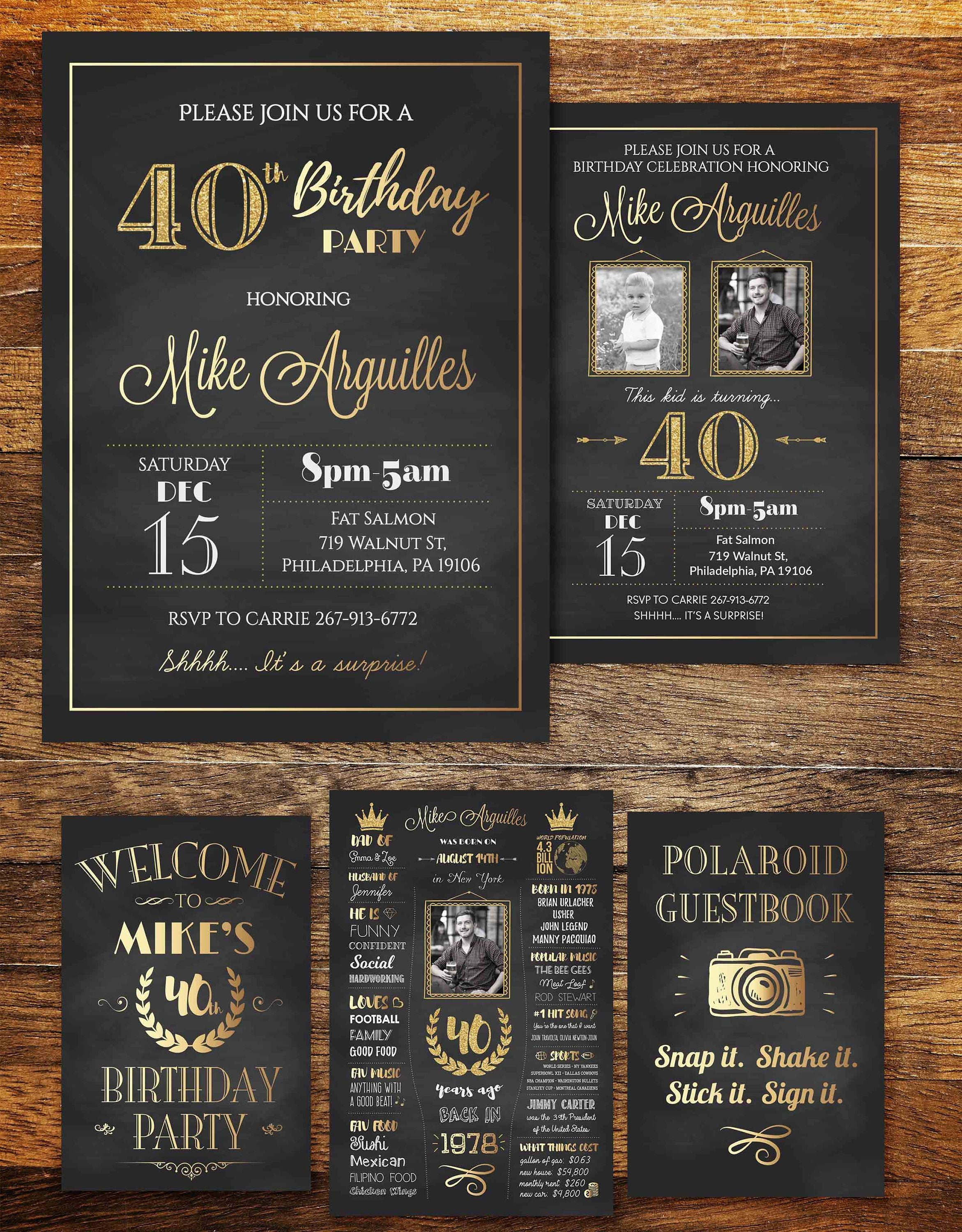 Adult Birthday Invitation ANY AGE 40th Party Invite Decorations Fortieth