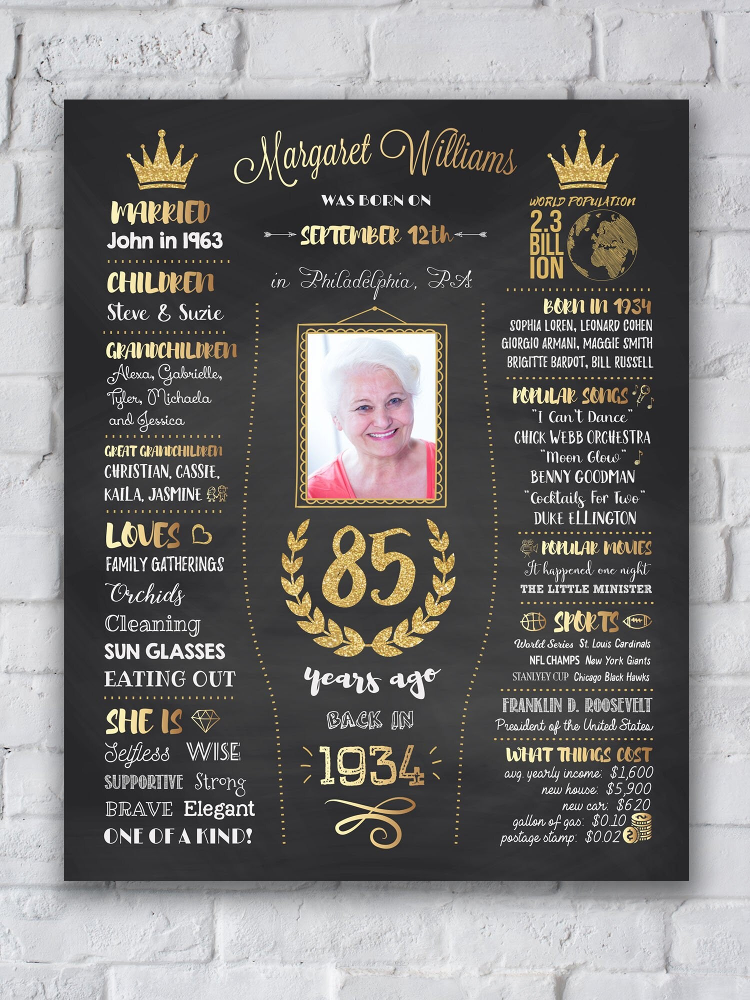 1934 Birthday Poster 85th Gift Chalkboard Sign Back In Decor Ideas 85