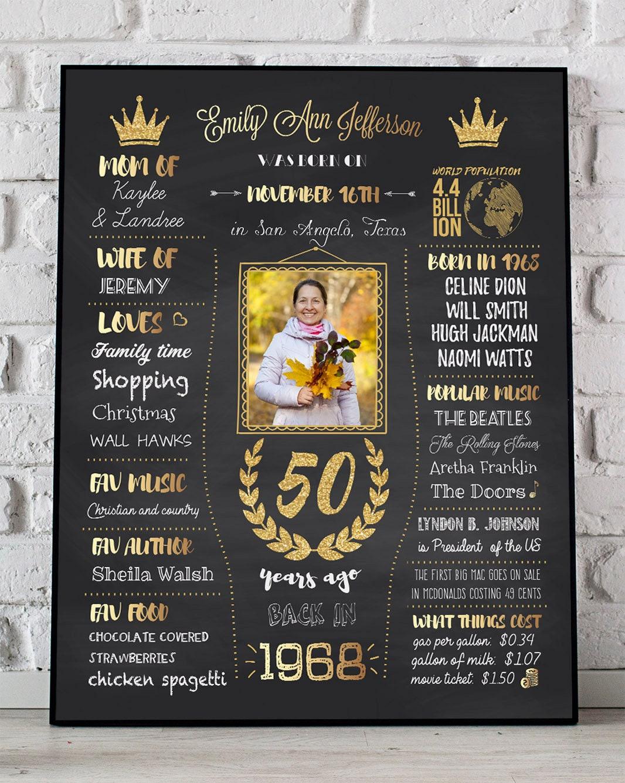 50th birthday poster 1968 sign 50th birthday women fiftieth